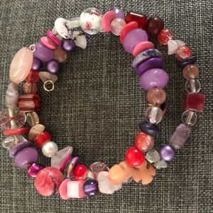 Pink Purple & Multi Colored Rose Bead Bracelet